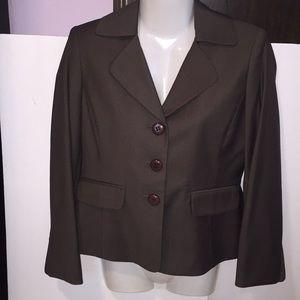 Anne Klein brown & gold blazer. Size 4 Petite.